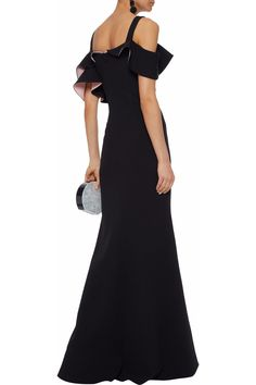 eb6333640802 Badgley Mischka Woman Cold-shoulder Ruffled Cady Gown Black in Black - Lyst