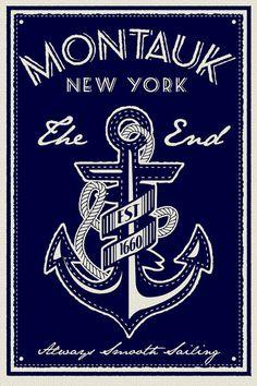 anchor screen print poster montauk new york the end vintage retro silk sailing House chic Screen Print Poster, Poster Prints, Art Prints, Montauk New York, Blusas T Shirts, Long Island Ny, Painting Edges, Sign Painting, Silk Screen Printing