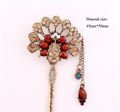 New Girl Women Fashion Brown Rhinestone Peacock Ladies Hair Stick Hairpin 50 #Unbranded