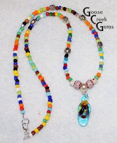 Hippie Flip Flop Necklace Lampworked Glass Flip by GooseCreekGems, $13.77
