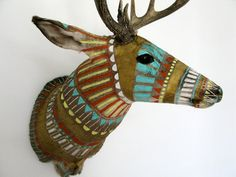 @Belinda Franks Now here's an idea   Handpainted Taxidermy Deer Head Custom by MadeByCassandraSmith