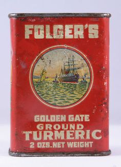 Early 1930s Folger's Golden Gate Ground Turmeric spice 2 oz tin - price reduced - SOLD!