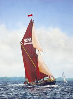 EDME Ahead by Derek Blois. Enquire about purchasing original or commissions. Cool Boats, Small Boats, Model Boat Plans, Wood Boat Plans, Classic Sailing, Sailing Ships, Sailing Yachts, Sailing Boat, Wooden Ship