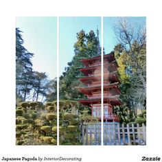 Shop Japanese Pagoda Triptych created by InteriorDecorating. Triptych Wall Art, Panel Wall Art, Wall Art Sets, Japanese Pagoda, Illusions, Outdoor Structures, House Styles, Design, Home Decor