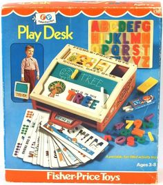 """Nostalgia - Remember When? Fisher Price Play Desk - Our """"laptop"""" as kids! Vintage Fisher Price, Fisher Price Toys, My Childhood Memories, Childhood Toys, Sweet Memories, School Memories, Little Dogs, Little People, Our Kids"""