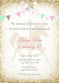 Carousel Birthday Invitation Girls Carousel Glittler Birthday