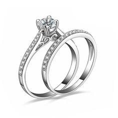 Encanto de Plata Para Las Mujeres Bijoux Joyería de Bodas de Compromiso Cristalino anel masculino Anillos de Pareja Para Los Amantes del Tamaño 6 7 8 9