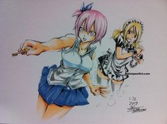 Lucy and virgo switch roles!love it!(drawing by Hiro Mashima).