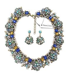 Fashion Jewelry Set, with jewelry box - Make a Statement - necklace long is: 44+7cm; The pendant size:4cm - Earrings size: 4*2.5cm