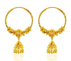 Earrings are designed with beaded gold balls and studded cubic zircon balls in an alternative pattern. Hanging Jhumki and hanging gold balls enhances its beauty. Gold Jhumka Earrings, Gold Mangalsutra, Gold Earrings Designs, Gold Designs, Gold Necklace, Gold Jewelry Simple, Golden Jewelry, Gold Chain Design, Gold Jewellery Design