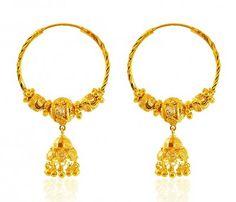 22k Gold Hoop Earrings Hoops Indian