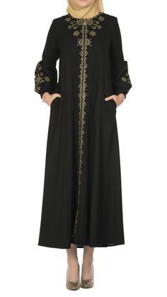 Butikzade - Zümrüt Ferace DF-1013-01-Siyah The Dress, Duster Coat, Cold Shoulder Dress, Dresses With Sleeves, Long Sleeve, Jackets, Fashion, Down Jackets, Moda