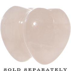 00 Gauge Natural Rose Quartz Sweet Heart Stone Saddle Plug #bodycandy #plugs #heart $2.99