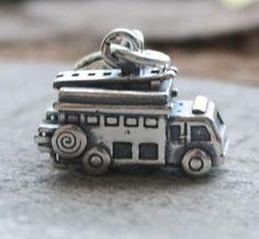 Fire Engine Truck Dangle Charm Bead - Pandora Compatible