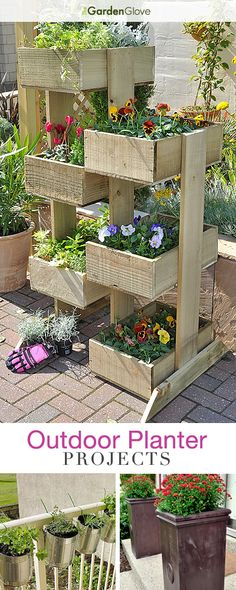 Outdoor Planter Projects :: Tons of ideas Tutorials! :: Including this nice vertical planter from 'gardensite'. would like to try strawberries in the vertical planter . Diy Planters Outdoor, Wooden Planters, Planter Boxes, Outdoor Gardens, Planter Ideas, Big Planters, Diy Patio, Hanging Planters, Plantador Vertical