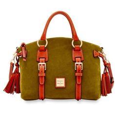 Dooney & Bourke  Nubuck Bristol Satchel ($368) ❤ liked on Polyvore featuring bags, handbags, dooney bourke handbags, brown satchel, satchel purses, dooney bourke satchel and satchel style handbags