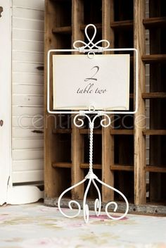 White Pedestal Table Number