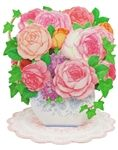 Flowers in Vase - Roses and Ivy - Pop Up Greeting Card