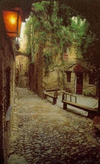 Bussana vecchia, Itality.  It's an entire town in Italy that looks just like this, only its a ghost town, old ruins.  totally gorg and awesome.  Must see!!!