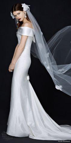 alan hannah 2017 bridal off the shoulder straight across neckline simple clean elegant classic sheath wedding dress chapel train (chloe) mv