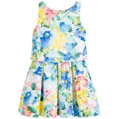Girls 2 Piece Blue Floral Top & Skirt Set, Ralph Lauren, Girl