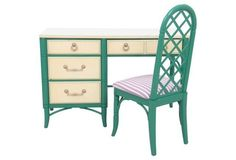 Desk Thomsvl 46x18x30 ask $725wg   ....   Chinoiserie Thomasville Desk w/ Chair