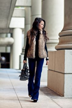 Vest by Michael Kors, turtleneck by Bebe, jeans by J Brand, bag by Marco Tagliaferri, shoes by Steve Madden. (wendyslookbook.com, November 14, 2011)