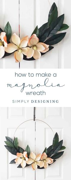 How to Make a Magnolia Hoop Wreath - this beautiful magnolia wreath is the perfect white winter wreath or elegant summer wreath for your home - How to make a Magnolia Farmhouse Wreath  #ad #LifeonRaise