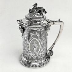 ANTIQUE VICTORIAN STERLING SILVER EWER / JUG 1867 Michael Sedler Antiques London Silver Vaults Chancery Lane London, UK Antique Silver Dealer www.sedlerantiques.com #antique #antiquesilver #sedlersilver #silver #london #londonantiques #londonsilvervaults