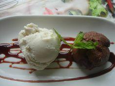 helado de coco con chocolate