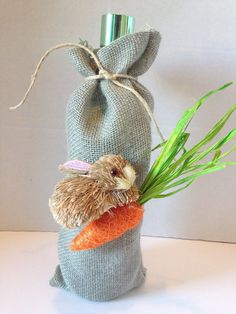 Burlap bunny easter bunny easter decoration easter handmade easter hostess gift hostess gift wine bag burlap by funwithwreaths negle Images