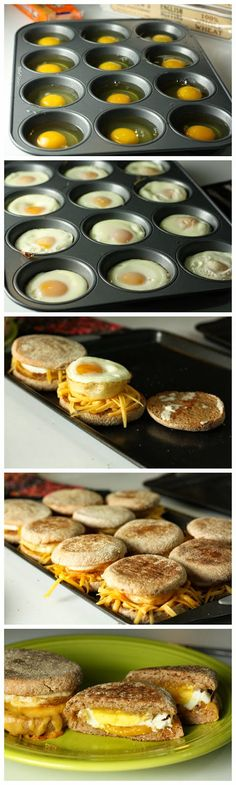 "Delicious Breakfast Sandwiches Recipe -Previous pinner wrote, ""These were pretty easy! Kinda took awhile with all the steps so they would be best for a brunch or larger breakfast group. We used a muffin top tin instead of a regular muffin tin and adjusted Breakfast Sandwich Recipes, Breakfast Desayunos, Breakfast Dishes, Brunch Recipes, Breakfast Parties, Sandwich Ideas, Brunch Party, Eggs For Breakfast Sandwiches, English Breakfast Ideas"