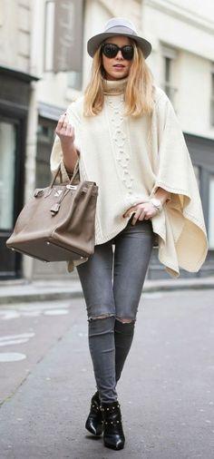 #winter #fashion / white + gray
