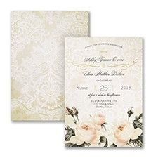 Vintage roses, lace, foil calligraphy swirls, unique typography, exquisite paper. This is the ultimate in romantic wedding invitations!