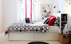 IKEA BRIMNES white bed with storage boxes and headboard with storage compartments