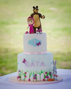 Masha and the Bear.  A cute cake for a little cutie   #mashaandthebearcake