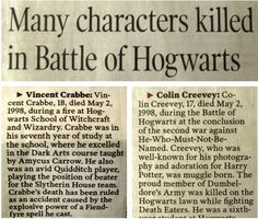 Many characters killed in Battle of Hogwarts. Colin Creevey is one of the worst - reading about Oliver wood carrying off his body makes me cry. Every time. Always.
