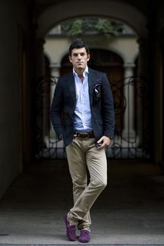 Navy Cotton Blazer, Khakis, FC Blue Shirt, Driving Loafers