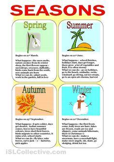 Seasons worksheet - Free ESL printable worksheets made by teachers
