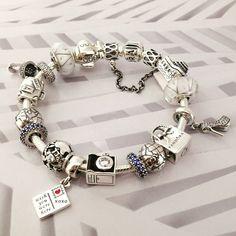 50% OFF!!! $379 Pandora Charm Bracelet Blue White. Hot Sale!!! SKU: CB01924 - PANDORA Bracelet Ideas