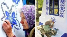 czech grandma turns small village into her art gallery by hand- painting flowers on its houses Transformers, Flower Mural, Summer Painting, Flower Ornaments, Galerie D'art, Traditional Paintings, Painting Videos, Bored Panda, House Painting