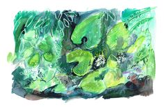 Sword Point Plants by William Watson-West  £425 Watercolour, pastel, ink and gouache on paper. 34cm x 22cmH  Surrounded by the verdant Yorkshire Dales, this painting is inspired by the foliage of his garden in summer.