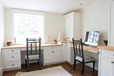 Great homework/ office space  Cabinets, Ikea Butcher Block  Caitlin Creer Interiors: spring lane