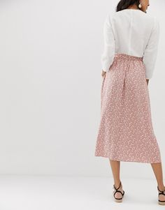 99a871e8b ASOS DESIGN Tall button front midi skirt with pockets in brown floral print  | ASOS