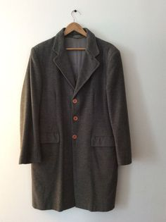 7a375b2f17 Vintage Men s Piacenza Made in Italy Gray Grey Wool Cashmere Coat! Large   Piacenza