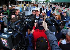 Art Sherman, trainer of California Chrome, meets the media outside his barn at Churchill Downs Tuesday morning... © 2014 Rick Samuels/The Blood-Horse