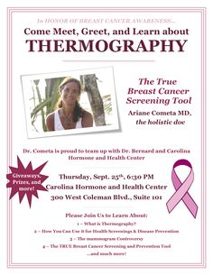Tonight, 9/25 at 6:30pm.  Join @ecohealthspa  Dr. Ariane Cometa as she discusses Thermography.