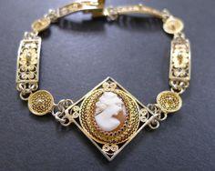 Vintage Cameo Filigree Bracelet Art Deco Silver Gold Filled
