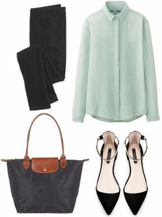 Business attire to wear to a conference or other professional setting is the focus, with tips for what to pack on a business trip and chic yet professional outfit ideas.