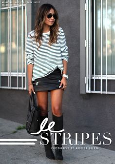 Le Stripes : Sincerely Jules : knee high boots